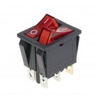 Выключатель двухклавишный 26*31мм, 10A, 250V, 2 положения, с сигнальной лампой, 66134