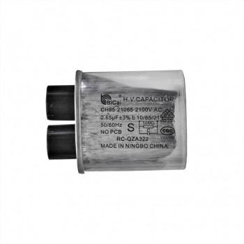 Конденсатор СВЧ печи CH85 0,65мкФ±3%, высоковольтный, 2100V (CH8521065), x85065