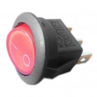 Выключатель круглый одноклавишный Ø20/22мм, 6,5А, 250V 2 положения, с сигнальной лампой